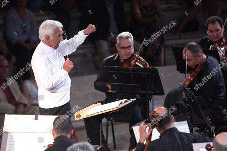 A Photograph Made Available On 02 August 2016 Shows Russian Conductor Vladimir Ashkenazy (l) Performing with the Athens State Orchestra During a Concert at Odeon of Herodes Atticus in Athens Greece 01 August 2016 Ashkenazy with His Son Dimitri Ashkenazy On Solo Clarinet Performed a Classical Program As Part of the 2016 Athens and Epidaurus Festival