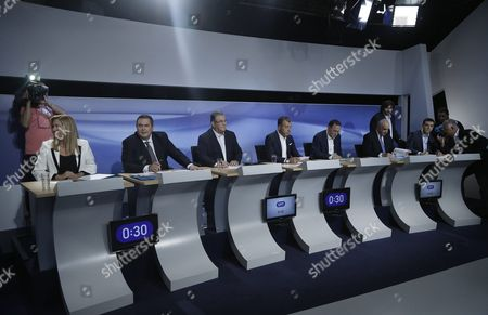 Leader of Socialist 'Pasok' Party Fofi Gennimata (l) Leader of Independent Greeks 'Anel' Panos Kammenos (2- L) Leader of Communist Party 'Kke' Dimitris Koutsoumbas (3-l) Leader of Greek Party 'To Potami' Stavros Theodorakis (4-l) Leader of the Popular Unity New Party Panagiotis Lafazanis (5-l) Leader of Main Opposition Consernative 'New Democracy' Party Evangelos Meimarakis (5-r) and Greek Former Prime Minister and President of Radical Left Party 'Syriza' Alexis Tsipras (3-r) Attend a Pre-election Debate of the Seven Political Leaders at the Studios of Greek State Tv in Athens Greece 09 September 2015 Elections Will Be Held On 20 September
