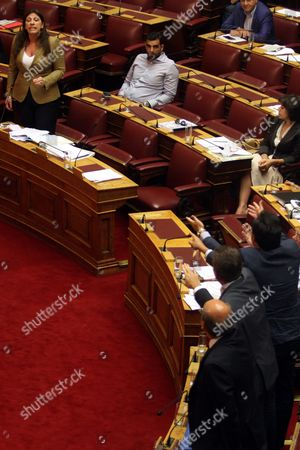 Speaker of the Greek Parliament Zoi Konstantopoulou (l) Addresses the Parliament Committees in Athens Greece 13 August 2015 a Vote Expected Early 14 August in the Greek Parliament On the Country's Third Bailout Agreement in Five Years is Being Closely Watched not Only Because It Could Assuage the Country's Economic Turmoil But Also Unleash Political Ferment the Committees Decided That the Draft Law On Greece's Agreement with Its Lenders Will Be Voted Under Fast-track Procedures Requested by the Government the Vote Had Been Expected Thursday But Parliament President Zoe Konstantopoulou Delayed a Debate Over the Bailout in the Finance Committee From 12 Until 13 August Morning Which Was Also Expected to Delay the Debate and Vote in the Full Parliament