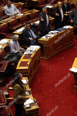Speaker of the Greek Parliament Zoi Konstantopoulou (bottom) Addresses the Parliament Committees in Athens Greece 13 August 2015 a Vote Expected Early 14 August in the Greek Parliament On the Country's Third Bailout Agreement in Five Years is Being Closely Watched not Only Because It Could Assuage the Country's Economic Turmoil But Also Unleash Political Ferment the Committees Decided That the Draft Law On Greece's Agreement with Its Lenders Will Be Voted Under Fast-track Procedures Requested by the Government the Vote Had Been Expected Thursday But Parliament President Zoe Konstantopoulou Delayed a Debate Over the Bailout in the Finance Committee From 12 Until 13 August Morning Which Was Also Expected to Delay the Debate and Vote in the Full Parliament