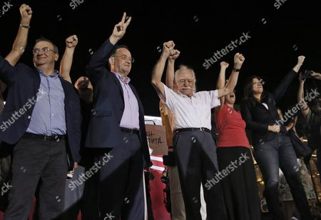 Stock Image of Panagiotis Lafazanis (2-l) Former Energy Minister of the Coalition Government of the Syriza Party and Leader of the New 'Popular Unity' Party Manolis Glezos (c) a Veteran of the Resistance Against the Nazis During Wwii and Zoe Konstantopoulou (r) Speaker of the Greek Parliament Wave to Supporters During a Pre-election Rally in Central Athens Greece 15 September 2015 Others Are not Identified Elections Will Be Held On 20 September 2015