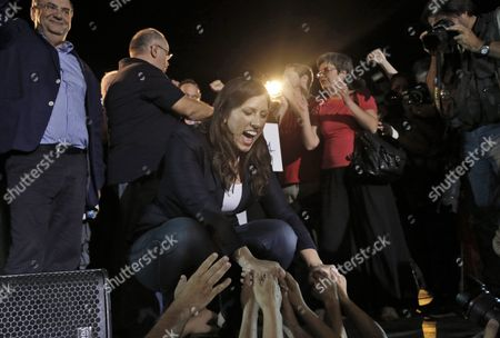 Zoe Konstantopoulou (c) Speaker of the Greek Parliament Shakes Hands with Supporters During a Pre-election Rally of the New 'Popular Unity' Party in Central Athens Greece 15 September 2015 Elections Will Be Held On 20 September 2015