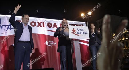Stock Picture of (l-r) Panagiotis Lafazanis Former Energy Minister of the Coalition Government of the Syriza Party and Leader of the New 'Popular Unity' Party Manolis Glezos a Veteran of the Resistance Against the Nazis During Wwii and Zoe Konstantopoulou Speaker of the Greek Parliament Address Supporters During a Pre-election Rally in Central Athens Greece 15 September 2015 Elections Will Be Held On 20 September 2015