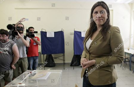 Zoe Konstantopoulou Speaker of the Greek Parliament and Candidate with the New 'Popular Unity' Party Casts Her Ballot During the Parliamentary Elections in Athens Greece 20 September 2015 Greek Voters Take to the Polls Throughout Greece in General Elections After Prime Minister Tsipras Resigned On 20 August 2015