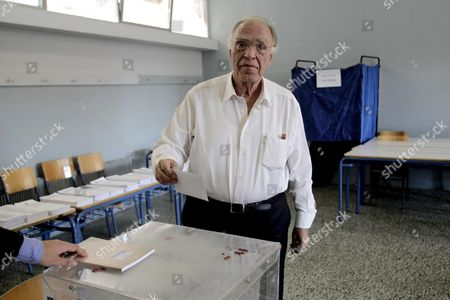 Leader of the Union of Centrists Vassilis Leventis Casts His Ballot During the Parliamentary Elections in Athens Greece 20 September 2015 Greek Voters Take to the Polls Throughout Greece in General Elections After Prime Minister Tsipras Resigned On 20 August 2015