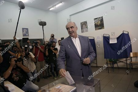 Leader of Main Opposition Consernative 'New Democracy' Party Evangelos Meimarakis Casts His Ballot at a Election Center in Athens Greece 20 September 2015 Greek Voters Take to the Polls Throughout Greece in General Elections After Prime Minister Tsipras Resigned On 20 August 2015
