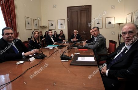 Stock Photo of Greek President Prokopis Pavlopoulos (c) Meets with Six of the Greek Political Leaders - Prime Minister and Leader of Syriza Party Alexis Tsipras (3rd-l) New Democracy (nd) Party President Ioannis Plakiotakis (3rd-r) Union of Centrists Party Vassilis Leventis (r) Pasok Party Leader Fofi Gennimata (2nd-l) the Head of Potami Party Stavros Theodorakis (2nd-r) and Independent Greeks Leader Panos Kammenos (l) During a Political Party Leaders' Meeting at the Presidential Palace in Athens Greece 28 November 2015 the Participants Will Discuss the Revising of Greece's Constitution the Refugees Crisis and Reforms On the Country's Pension System