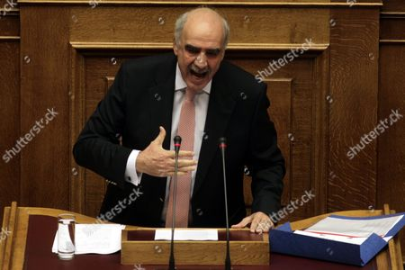Leader of Main Opposition Conservative 'New Democracy' Party Evangelos Meimarakis Delivers His Sppeech Before the Confidence Vote at the Parliament in Athens Greece 07 October 2015