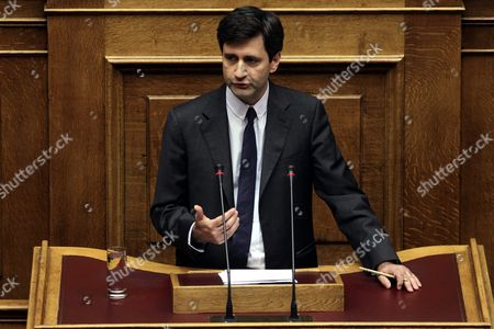 Greek Deputy Finance Minister George Chouliarakis Delivers His Speech Before the Confidence Vote at the Parliament in Athens Greece 07 October 2015 the Debate On the Government Policy Statements in Parliament Plenum Will Be Completed On Wednesday Midnight Afterwards the Parliament Will Be Asked to Give a Vote of Confidence to the Government
