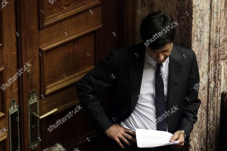 Greek Deputy Finance Minister George Chouliarakis is Seen Before the Confidence Vote at the Parliament in Athens Greece 07 October 2015 the Debate On the Government Policy Statements in Parliament Plenum Will Be Completed On Wednesday Midnight Afterwards the Parliament Will Be Asked to Give a Vote of Confidence to the Government