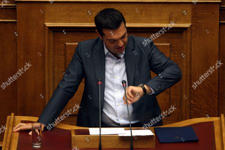 Greek Prime Minister Alexis Tsipras Adresses at the Parliament in Athens Greece 14 August 2015 a Vote Expected Early 14 August in the Greek Parliament On the Country's Third Bailout Agreement in Five Years is Being Closely Watched not Only Because It Could Assuage the Country's Economic Turmoil But Also Unleash Political Ferment the Committees Decided That the Draft Law On Greece's Agreement with Its Lenders Will Be Voted Under Fast-track Procedures Requested by the Government the Vote Had Been Expected Thursday But Parliament President Zoe Konstantopoulou Delayed a Debate Over the Bailout in the Finance Committee From 12 Until 13 August Morning Which Was Also Expected to Delay the Debate and Vote in the Full Parliament