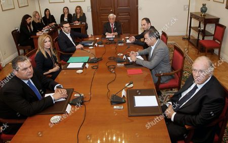 Greek President Prokopis Pavlopoulos (c) Meets with Six of the Greek Political Leaders - Prime Minister and Leader of Syriza Party Alexis Tsipras (3rd-l) New Democracy (nd) Party President Ioannis Plakiotakis (3rd-r) Union of Centrists Party Vassilis Leventis (r) Pasok Party Leader Fofi Gennimata (2nd-l) the Head of Potami Party Stavros Theodorakis (2nd-r) and Independent Greeks Leader Panos Kammenos (l) During a Political Party Leaders' Meeting at the Presidential Palace in Athens Greece 28 November 2015 the Participants Will Discuss the Revising of Greece's Constitution the Refugees Crisis and Reforms On the Country's Pension System Epa/pantelis Saitas