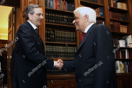 Greek President Prokopis Pavlopoulos (r) Receive Opposition New Democracy Leader Antonis Samaras (l) For a Meeting at the Presidential Mansion in Athens Greece 28 June 2015 Uncertainty Reigned in Greece 28 June After Its Parliament Approved Prime Minister Alexis Tsipras' Bailout Referendum Leaving the Country Sharply Divided On the Issue of the Cost of Remaining in the Euro Common Currency Bloc the Pro-european Opposition Parties New Democracy Pasok and to Potami Accused the Government of Putting the Country On the Brink of an Exit From the Eurozone a Suggestion Played Down by the Ruling Leftist Syriza Tsipras Told Parliament Ahead of the Vote That the Referendum He Proposed On 26 June Was not a Tactic to Break Away From Europe While Former Prime Minister and Leader of New Democracy Antonis Samaras Said 'Greece Will not Commit Suicide with You '