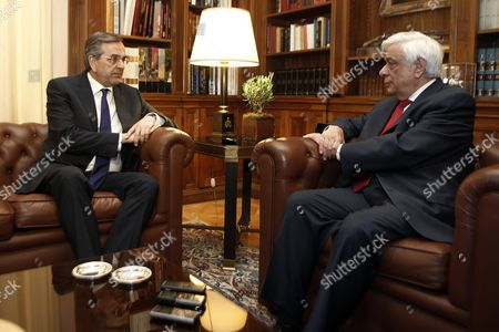 Greek President Prokopis Pavlopoulos (r) and Opposition New Democracy Leader Antonis Samaras (l) Talk During a Meeting at the Presidential Mansion in Athens Greece 28 June 2015 Uncertainty Reigned in Greece 28 June After Its Parliament Approved Prime Minister Alexis Tsipras' Bailout Referendum Leaving the Country Sharply Divided On the Issue of the Cost of Remaining in the Euro Common Currency Bloc the Pro-european Opposition Parties New Democracy Pasok and to Potami Accused the Government of Putting the Country On the Brink of an Exit From the Eurozone a Suggestion Played Down by the Ruling Leftist Syriza Tsipras Told Parliament Ahead of the Vote That the Referendum He Proposed On 26 June Was not a Tactic to Break Away From Europe While Former Prime Minister and Leader of New Democracy Antonis Samaras Said 'Greece Will not Commit Suicide with You '