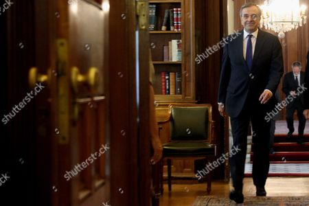 Opposition New Democracy Leader Antonis Samaras Arrives For a Meeting Wit Greek President Prokopis Pavlopoulos (not Pictured) in Athens Greece 28 June 2015 Uncertainty Reigned in Greece 28 June After Its Parliament Approved Prime Minister Alexis Tsipras' Bailout Referendum Leaving the Country Sharply Divided On the Issue of the Cost of Remaining in the Euro Common Currency Bloc the Pro-european Opposition Parties New Democracy Pasok and to Potami Accused the Government of Putting the Country On the Brink of an Exit From the Eurozone a Suggestion Played Down by the Ruling Leftist Syriza Tsipras Told Parliament Ahead of the Vote That the Referendum He Proposed On 26 June Was not a Tactic to Break Away From Europe While Former Prime Minister and Leader of New Democracy Antonis Samaras Said 'Greece Will not Commit Suicide with You '