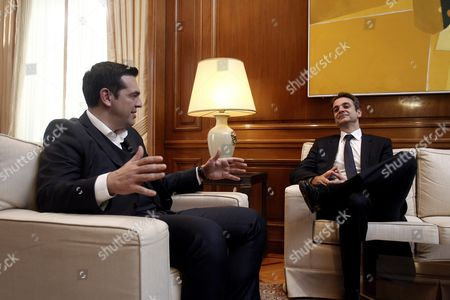 Greek Prime Minister Alexis Tsipras (l) Talks with the Newly Elected Leader of Main Opposition Conservative 'New Democracy' Party Kyriakos Mitsotakis (r) During Their Meeting in the Prime Minister's Office in Athens Greece 19 January 2016 Kyriakos Mitsotakis Secured More Than 51 Percent of the Vote in a Run-off Election a Week Earler Against Outgoing Leader Evangelos Meimarakis Who Called the Vote After the Party Suffered Defeat in September Parliamentary Elections