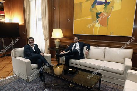Stock Photo of Greek Prime Minister Alexis Tsipras (l) Talks with the Newly Elected Leader of Main Opposition Conservative 'New Democracy' Party Kyriakos Mitsotakis (r) During Their Meeting in the Prime Minister's Office in Athens Greece 19 January 2016 Kyriakos Mitsotakis Secured More Than 51 Percent of the Vote in a Run-off Election a Week Earler Against Outgoing Leader Evangelos Meimarakis Who Called the Vote After the Party Suffered Defeat in September Parliamentary Elections