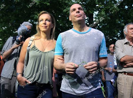 Greek Finance Minister Yanis Varoufakis (r) Accompanied by His Wife Danae Stratou Attend the Reopening of the Public Broadcaster Ert in Athens Greece 11 June 2015 the Ert State Radio and Television Organisation Resumed Broadcasting Two Years After the Sudden Closure of the Organisation Due to Budget-cuts Rehiring Most of the Staff Fired