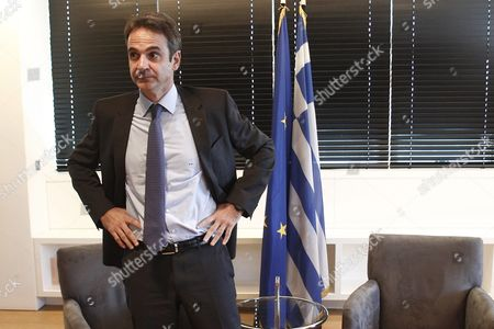 Newly Elected President of New Democracy Party Kyriakos Mitsotakis During Their Meeting at the Headquarters of the Party After His Meeting with the Outgoing President Yiannis Plakiotakis (not Pictured) in Athens Greece 11 January 2016 Kyriakos Mitsotakis Was Elected President of Main Opposition New Democracy (nd) in Runoff Elections On Sunday Defeating Vangelis Meimarakis Who Had Served As Interim Party Leader Over the Summer After Antonis Samaras Stepped Down Epa/alexandros Vlachos