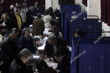 New Democracy Party Supporters Prepare to Cast Their Votes During the Leadership Elections in Athens Greece 10 January 2016 New Democracy Supporters Were Voting in the Final Round of the Partys Leadership Election On Sunday Vangelis Meimarakis Faces Off Against Kyriakos Mitsotakis For New Democracys Presidency