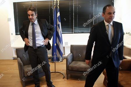 Outgoing President of New Democracy Party Yiannis Plakiotakis (r) and Newly Elected President Kyriakos Mitsotakis (l) Are Seen During Their Meeting at the Headquarters of the Party in Athens Greece 11 January 2016 Kyriakos Mitsotakis Was Elected President of Main Opposition New Democracy (nd) in Runoff Elections On 10 January Defeating Vangelis Meimarakis Who Had Served As Interim Party Leader Over the Summer After Antonis Samaras Stepped Down