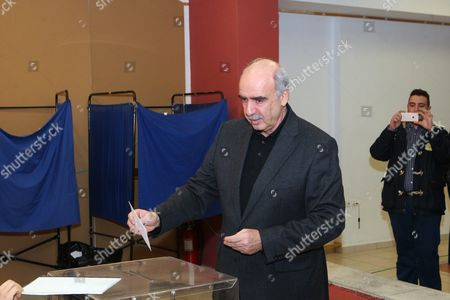 Candidate For the Presidency of New Democracy Party Vangelis Meimarakis Casts His Vote During the Leadership Elections in Athens Greece 10 January 2016 New Democracy Supporters Were Voting in the Final Round of the Partys Leadership Election On Sunday Vangelis Meimarakis Faces Off Against Kyriakos Mitsotakis For New Democracys Presidency Epa/pantelis Saitas
