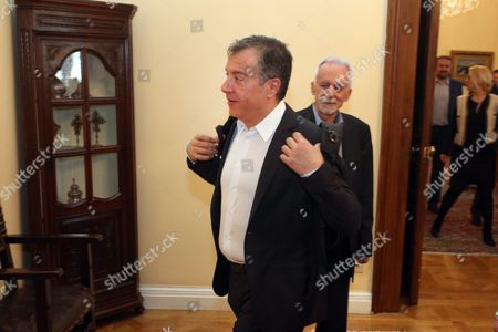 Stavros Theodorakis Head of to Potami (the River) Party Arriving at the Political Meeting Chaired by the Greek President After the Greek Prime Minister's Request to Inform the Parties of the Opposition On the Latest Developments and the Governments Position On the Thorny Issue of the Migration Flow in Athens Greece 04 March 2016