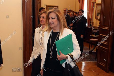 Fofi Gennimata President of Pasok (panhellenic Socialist Movement) Arriving at the Political Meeting Chaired by the Greek President After the Greek Prime Minister's Request to Inform the Parties of the Opposition On the Latest Developments and the Governments Position On the Thorny Issue of the Migration Flow in Athens Greece 04 March 2016