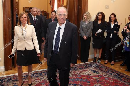 Stock Image of Vassilis Leventis (c) President of Enossi Kentroon Arriving at the Political Meeting Chaired by the Greek President After the Greek Prime Minister's Request to Inform the Parties of the Opposition On the Latest Developments and the Governments Position On the Thorny Issue of the Migration Flow in Athens Greece 04 March 2016