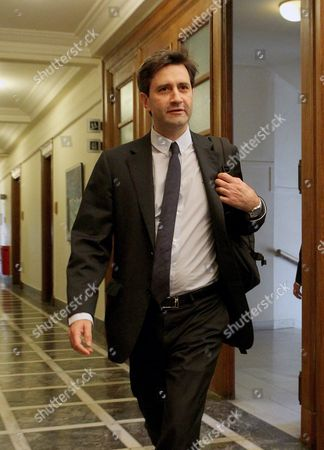 Greek Deputy Finance Minister George Chouliarakis Arrives in a Cabinet Meeting of His New Government in the Greek Parliament Building in Athens Greece 25 September 2015