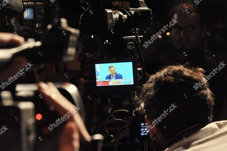 Journalists Watch a Monitor As Greece's Main Opposition New Democracy Leader Antonis Samaras Speaks After the Results of the Referendum in Athens Greece 05 July 2015 Greece's Main Opposition Party New Democracy Leader Antonis Samaras Said He Was Resigning After a Strong Majority of Voters Appeared to Have Rejected Creditors' Bailout Terms