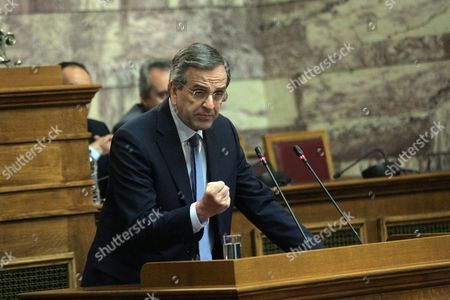 The Leader of the New Democracy Opposition Party Antonis Samaras (c) Talks in the Greek Parliament in Athens Greece 29 June 2015 About Prime Minister's Referendum On Bailout Terms to Be Held On the 05 July 2015