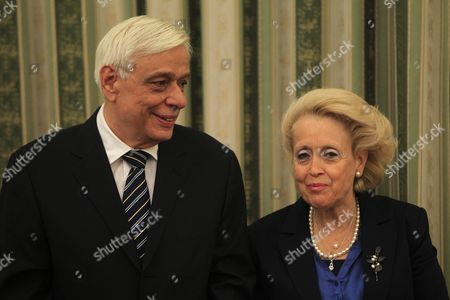 Greece's Caretaker Prime Minister Vassiliki Thanou (r) Talks with President of Greek Republic Prokopis Pavlopoulos (l) During the Swearing-in Ceremony of the New Government's Caretaker Ministers in the Presidential Palace On 28 August 2015 Elections Will Be Held On 20 September 2015