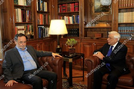 Panagiotis Lafazanis (l) Former Energy Minister of the Coalition Government of Syriza Party and Leader of the Popular Unity New Party Meets Greek President Prokopis Pavlopoulos (r) in Order to Return After Failing a Mandate to Form a Government in Athens 27 August 2015 President of Republic Later Today Will Announce the Date That Snap Elections Will Be Held