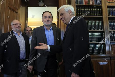 Panagiotis Lafazanis (c) Former Energy Minister of the Coalition Government of Syriza Party and Leader of the Popular Unity New Party Meets Greek President Prokopis Pavlopoulos (r) in Order to Return After Failing a Mandate to Form a Government in Athens 27 August 2015 President of Republic Later Today Will Announce the Date That Snap Elections Will Be Held