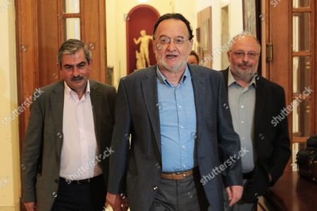 Panagiotis Lafazanis (c) Former Energy Minister of the Syriza Coalition Government and President of the New Parliamentary Group 'Popular Unity' Arrives For a Meeting with Meeting with Evangelos Meimarakis (not Pictured) Leader of the Conservative New Democracy Party at the Parliament in Athens Greece 22 August 2015 President of the Republic Prokopis Pavlopoulos Gave a Mandate to Main Opposition Leader Evangelos (vangelis) Meimarakis to Form a Government Late On 20 August Night Following the Resignation of Prime Minister Alexis Tsipras After a Televised Statement in Which He Asked Greeks to Give Him a Clear Mandate in National Elections