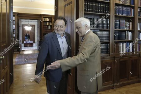 Panagiotis Lafazanis (l) Former Energy Minister of the Coalition Government of Syriza Party and Leader of the Popular Unity New Party Meets Greek President Prokopis Pavlopoulos (r) in Order to Receive a Mandate to Form a Government in Athens 24 August 2015 in Case He Fails to Form a Government Snap Elections Will Be Held Late September