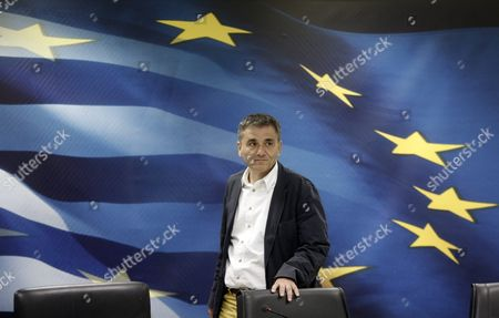 Outgoing Finance Minister Euclid Tsakalotos Arrives For a Handover Ceremony Following the Swearing-in of Caretaker Finance Minister George Chouliarakis (not Pictured) at the Ministry in Athens Greece On 28 August 2015 Elections Will Be Held On 20 September 2015