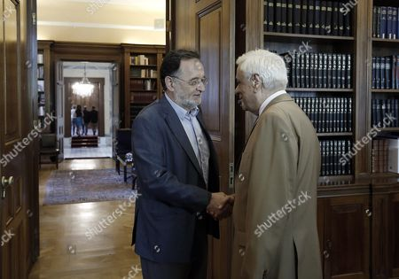 Panagiotis Lafazanis (l) Former Energy Minister of the Coalition Government of Syriza Party and Leader of the Popular Unity New Party Meets Greek President Prokopis Pavlopoulos (r) in Order to Receive a Mandate to Form a Government in Athens 24 August 2015 in Case He Fails to Form a Government Snap Elections Will Be Held Late September Epa/yannis Kolesidis