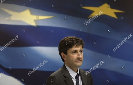 Caretaker Finance Minister George Chouliarakis Attends a Handover Ceremony at the Ministry in Athens Greece 28 August 2015 Elections Will Be Held On 20 September 2015
