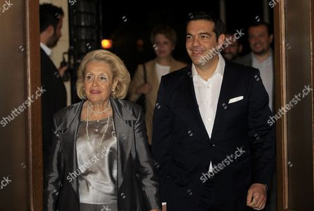 Greek Syriza Party Leader and Newly Sworn-in Prime Minister Alexis Tsipras (r) Enters the Prime Minister's Office Accompanied by Former Caretaker Prime Minister Vassiliki Thanou (l) During a Handover Ceremony in Athens Greece 21 September 2015 Alexis Tsipras is Set to Return to Power in Greece with Another Emphatic Election Victory Vindicating His Decision to Seek a New Mandate After Yielding to the Demands of European Leaders For More Austerity in the Crisis-hit Country