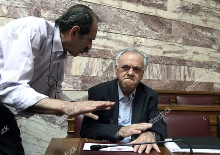 Greek Vice President Giannis Dragasakis (r) Attends a Party Meeting in the Greek Parliament in Athens Greece 16 June 2015 the Greek Parliament After Four Months of Intensive Negotiations Greece Had Submitted a Proposal That Could Have Been the Basis For a Sustainable and Socially Acceptable Agreement Prime Minister Alexis Tsipras Told Syriza's Parliamentary Group On Tuesday 'This Insistence On a Programme of Cuts That Has Failed and Measures That Cannot Be Accepted is not Only Wrong It Most Likely Serves Political Ends and a Plan to Humiliate not Just the Government But the Greek People ' He Said
