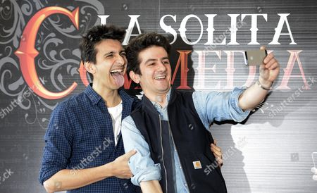 Italian Actors/cast Members Francesco Mandelli (r) and Fabrizio Biggio (l) Pose For Photographs During the Photocall For the Movie 'La Solita Commedia-inferno' in Rome Italy 12 March 2015 the Movie Will Be Released in Italian Theaters On 19 March
