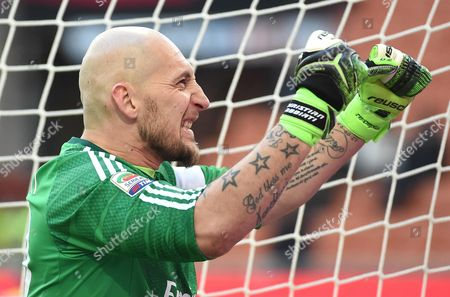 Ac Milan's Goalkeeper Christian Abbiati Reacts During the Italian Serie a Soccer Match Between Ac Milan and Ac Cesena at the Giuseppe Meazza Stadium in Milan Italy 22 February 2015