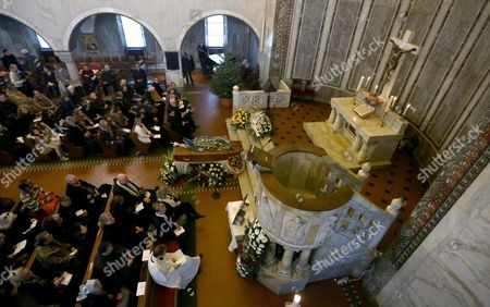 The Coffin of Swedish Actress Anita Ekberg is On Display For the Funeral Service at the Evangelic Luteran Church of Rome Wednesday 14 January 2015 Ekberg Has Died Aged 83 On 11 January in a Hospital Just Outside Rome where She Had Been Living Wheelchair-bound For the Past Several Years