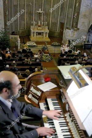 Stock Image of A View of the Funeral Service of Swedish Actress Anita Ekberg at the Evangelic Luteran Church of Rome Wednesday 14 January 2015 Ekberg Has Died Aged 83 On 11 January in a Hospital Just Outside Rome where She Had Been Living Wheelchair-bound For the Past Several Years