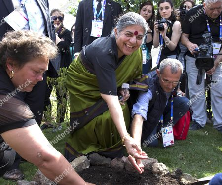 Indian Environmental Activist and Anti-globalization Author Vandana Shiva Sows Some Seeds of Organic Cereals During the Opening of the Biological Pavillion at the Expo in Milan 16 May 2015 the Exhibition Runs From 01 May to 31 October the Event's 2015 Theme is 'Feeding the Planet Energy For Life'