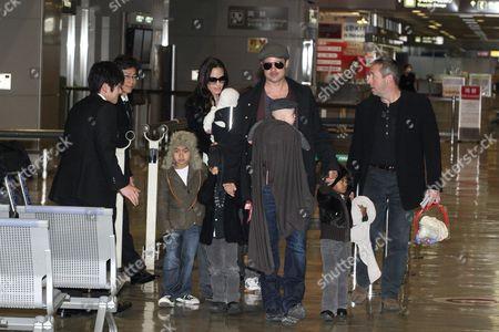 Angelina Jolie with daughters Viviene Marcheline Jolie-Pitt and Shiloh Jolie-Pitt and Maddox Chivan Thornton Jolie-Pitt and Brad Pitt with Knox Leon Jolie-Pitt and Zahara Jolie-Pitt