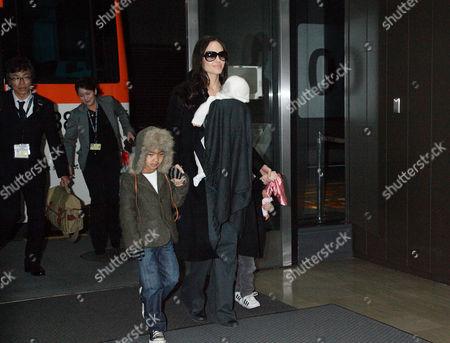 Angelina Jolie with daughters Viviene Marcheline Jolie-Pitt and Shiloh Jolie-Pitt and Maddox Chivan Thornton Jolie-Pitt