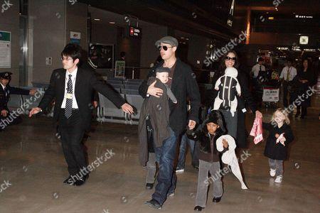 Editorial photo of Brad Pitt and Angelina Jolie with family arriving at Narita International airport, Chiba, Japan - 27 Jan 2009